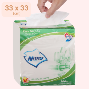 Khăn giấy ăn Nano 1 lớp gói 100 tờ