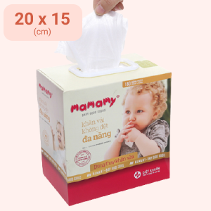 Khăn vải không dệt đa năng Mamamy diệt khuẩn hộp 180 tờ