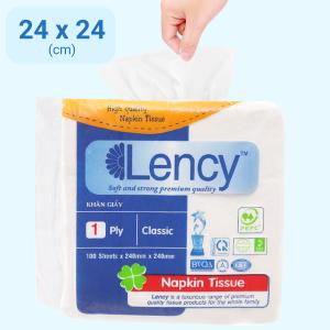 Khăn giấy ăn Lency 1 lớp gói 100 tờ