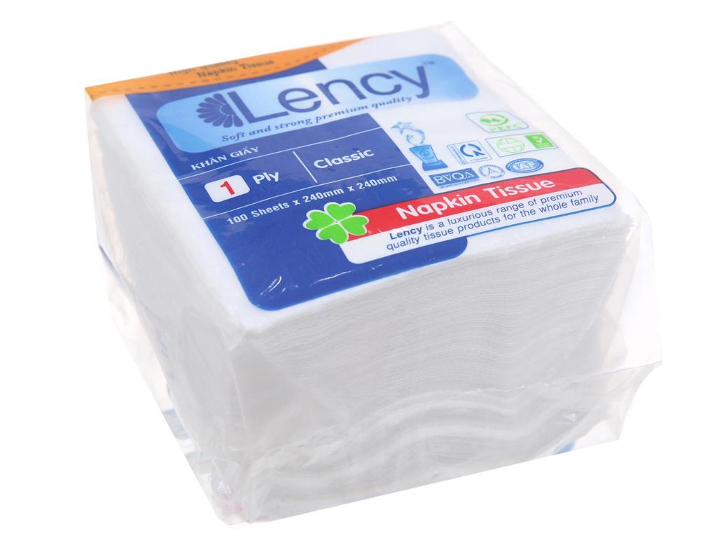 Khăn giấy ăn Lency 1 lớp gói 100 tờ 1
