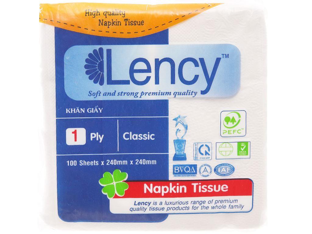 Khăn giấy ăn Lency 1 lớp gói 100 tờ 2