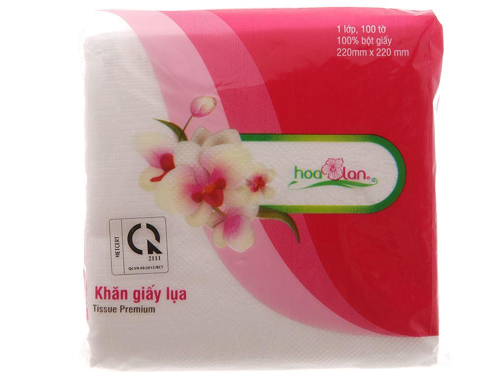 Khăn giấy lụa Hoa Lan gói 100 tờ 1 lớp 22x22cm 3
