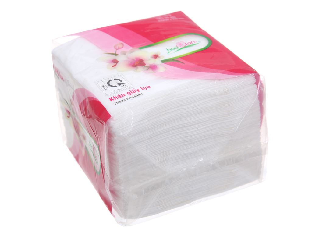 Khăn giấy lụa Hoa Lan gói 100 tờ 1 lớp 22x22cm 2