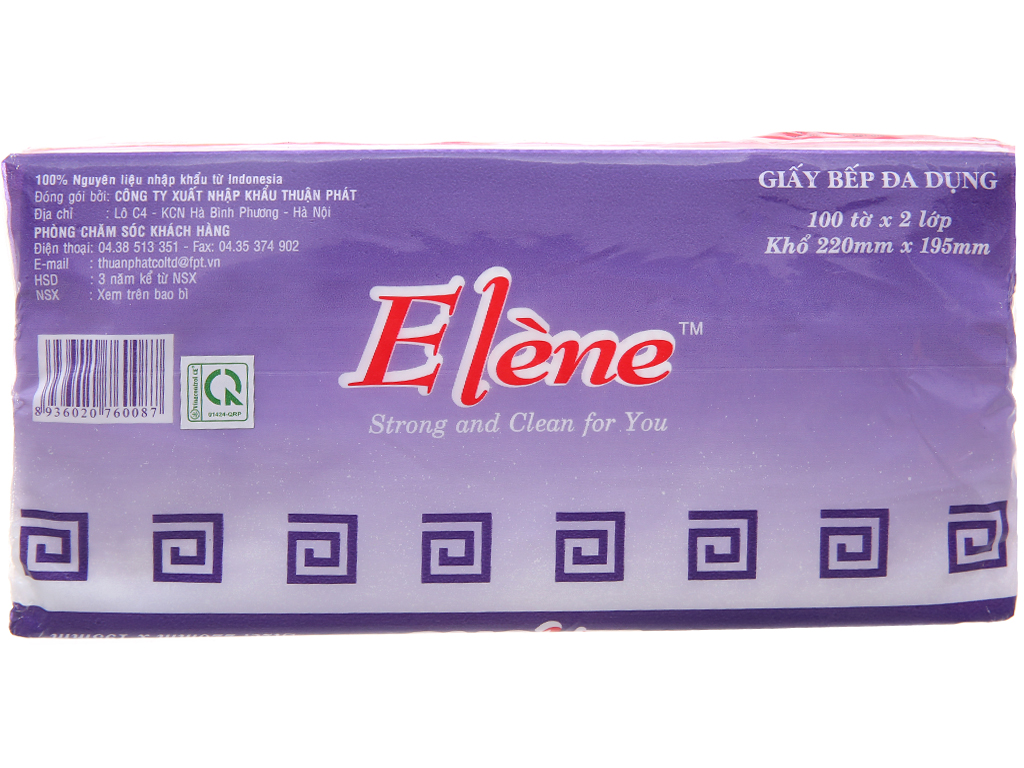 Giấy bếp đa dụng Elène 2 lớp gói 100 tờ 2