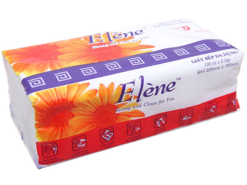 Giấy bếp đa dụng Elène 2 lớp gói 100 tờ 4