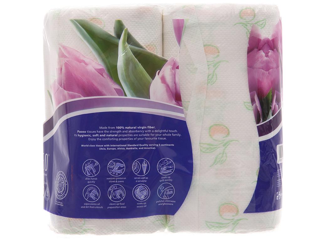2 cuộn khăn lau bếp đa năng Paseo in hoa 2 lớp 2