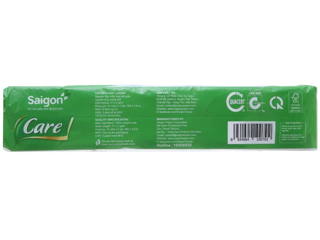 10 cuộn giấy vệ sinh không lõi Saigon Care 2 lớp 2