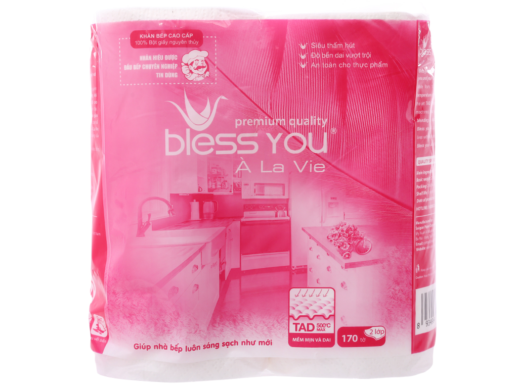 2 cuộn giấy lau bếp Bless You À La Vie 2 lớp 2