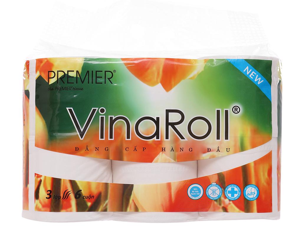6 cuộn giấy vệ sinh không lõi Premier VinaRoll 3 lớp 1