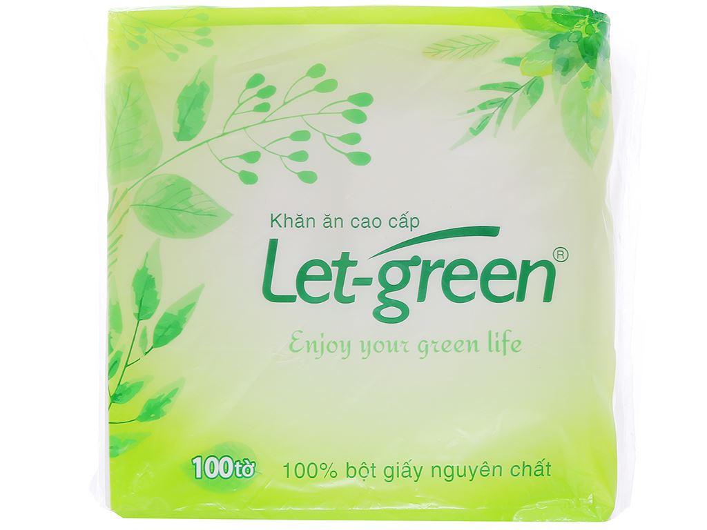 Khăn ăn cao cấp Let-green gói 100 tờ 1 lớp 1