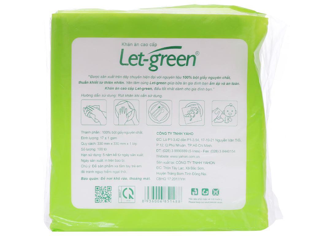 Khăn ăn cao cấp Let-green gói 100 tờ 1 lớp 2
