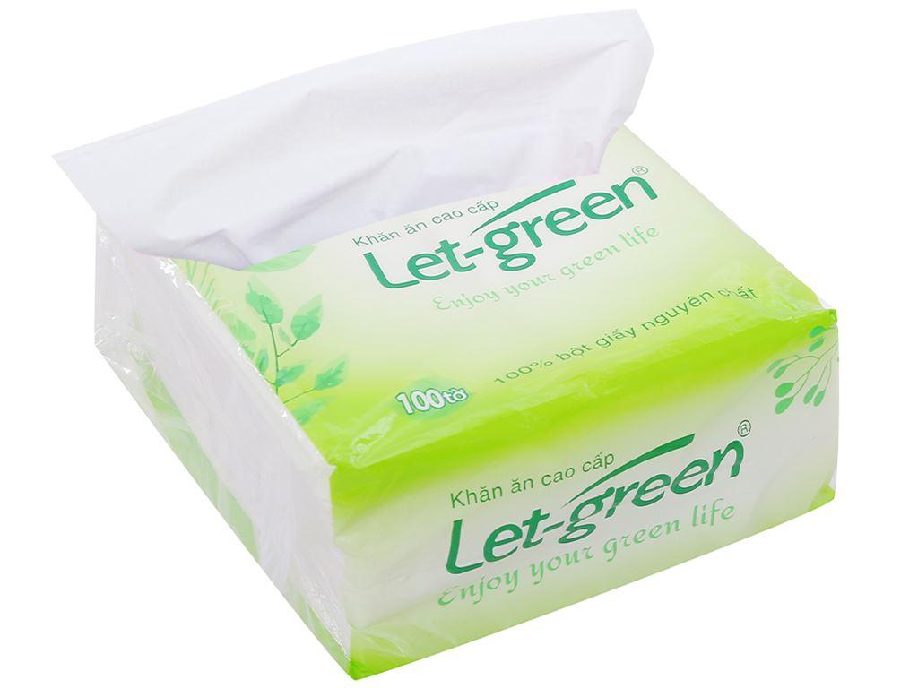 Khăn ăn cao cấp Let-green gói 100 tờ 1 lớp 4