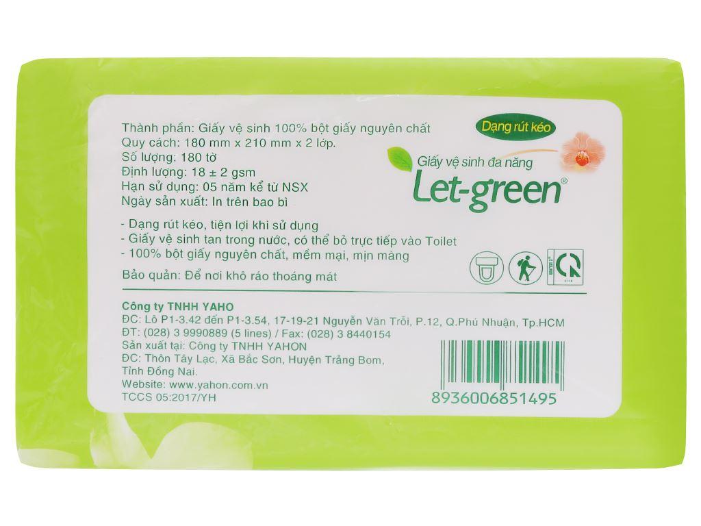 Giấy vệ sinh đa năng Let-green 2 lớp gói 180 tờ 2