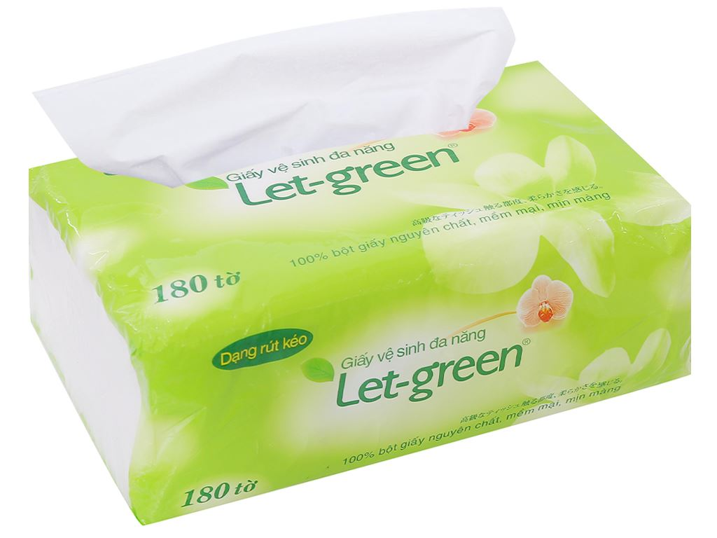 Giấy vệ sinh đa năng Let-green 2 lớp gói 180 tờ 4