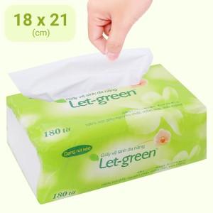 Khăn giấy rút Let-green 2 lớp gói 180 tờ