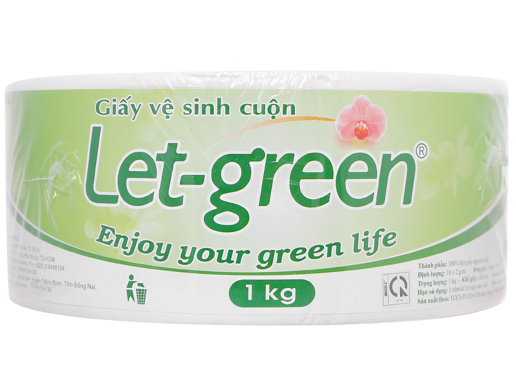 Giấy vệ sinh cuộn lớn Let-green 2 lớp 1kg 1