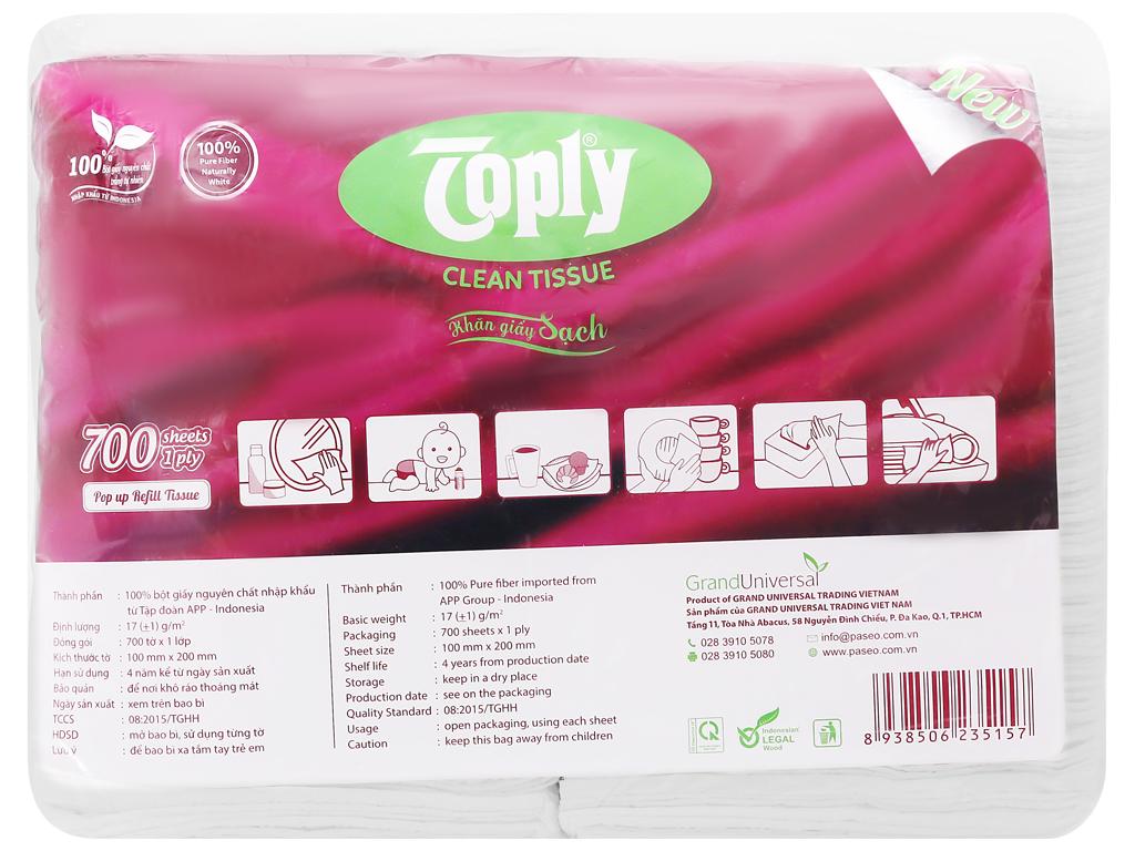 Khăn giấy Toply gói 700 tờ 1 lớp 2