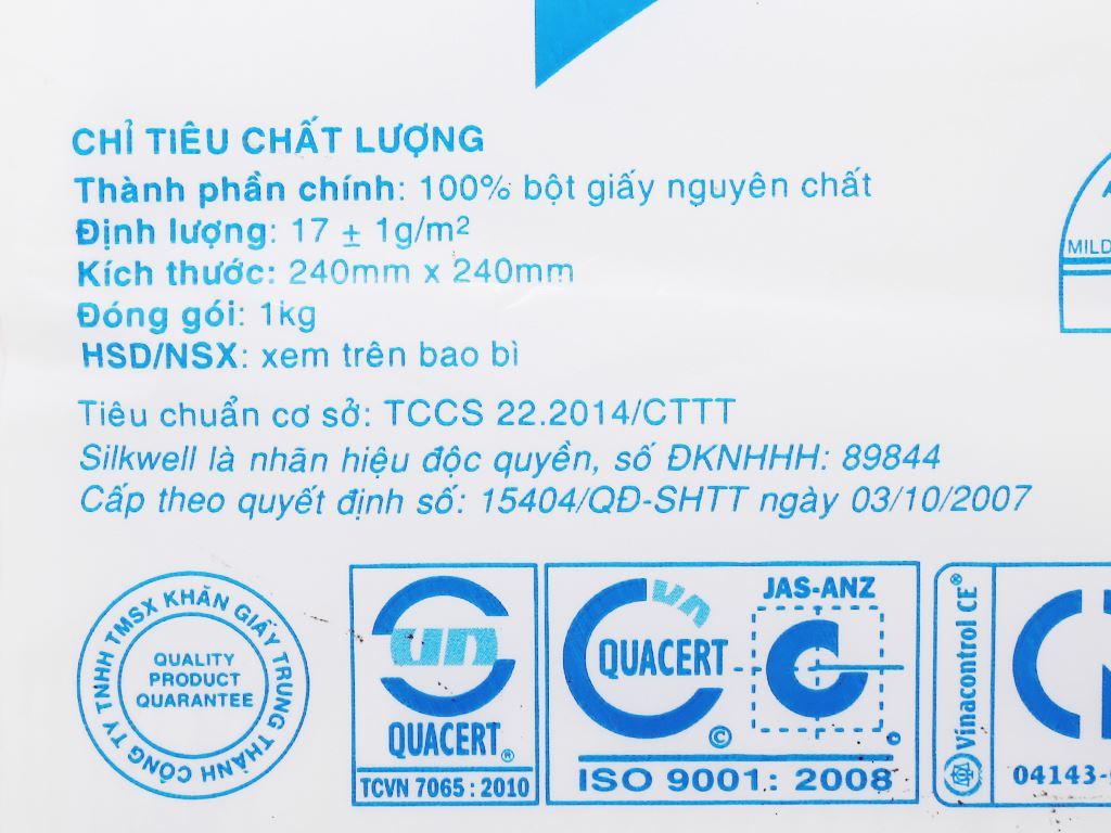 Khăn giấy ăn Silkwell khăn ăn gói 1kg 24x24cm 6
