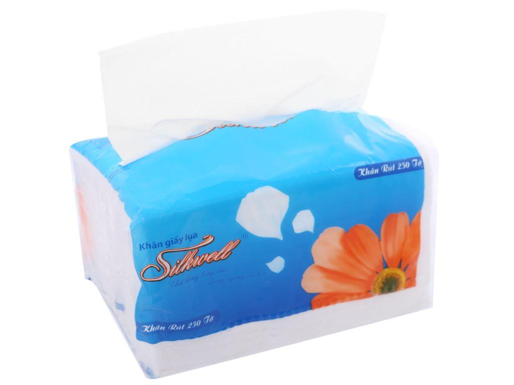 Khăn giấy lụa Silkwell 2 lớp gói 250 tờ 14x19.5cm 1