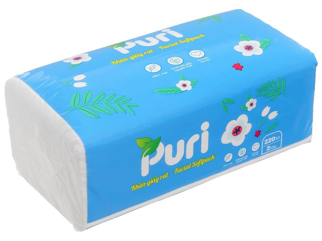 Khăn giấy rút Puri 2 lớp gói 220 tờ - giao màu ngẫu nhiên 1