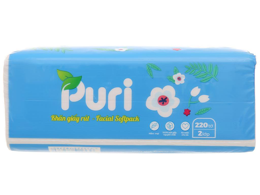 Khăn giấy rút Puri 2 lớp gói 220 tờ - giao màu ngẫu nhiên 3