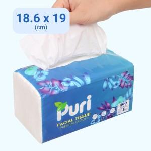 Khăn giấy rút Puri 3 lớp gói 200 tờ - giao màu ngẫu nhiên