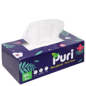 Khăn giấy mềm siêu mịn Puri 2 lớp hộp 180 tờ - giao màu ngẫu nhiên