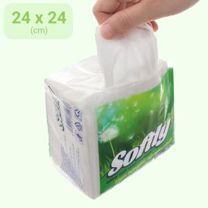 Khăn giấy ăn Softly 1 lớp gói 100 tờ 240 x 240mm