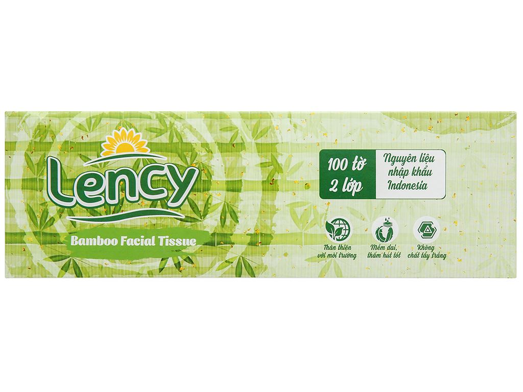 Khăn lau mặt Lency 2 lớp hộp 100 tờ 5
