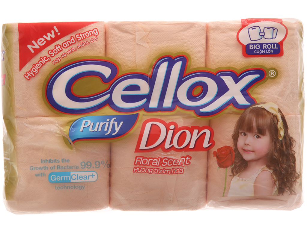 6 khăn giấy cuộn Cellox Purify Dion hương thơm tươi mát 2 lớp 2