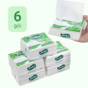6 gói khăn giấy ăn An An 2 lớp 100 tờ