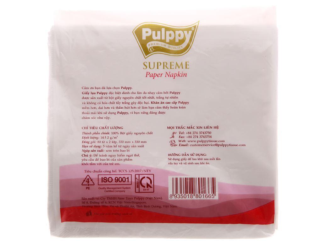 Khăn ăn cao cấp Pulppy Supreme gói 80 tờ 2 lớp 3