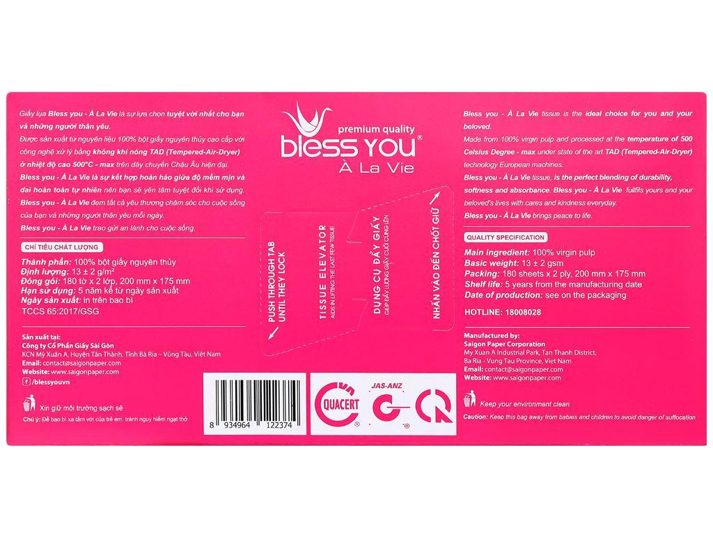 Khăn giấy lụa Bless You À La Vie 2 lớp hộp 180 tờ 3