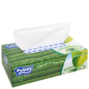 Khăn giấy lụa Pulppy hộp 100 tờ 2 lớp