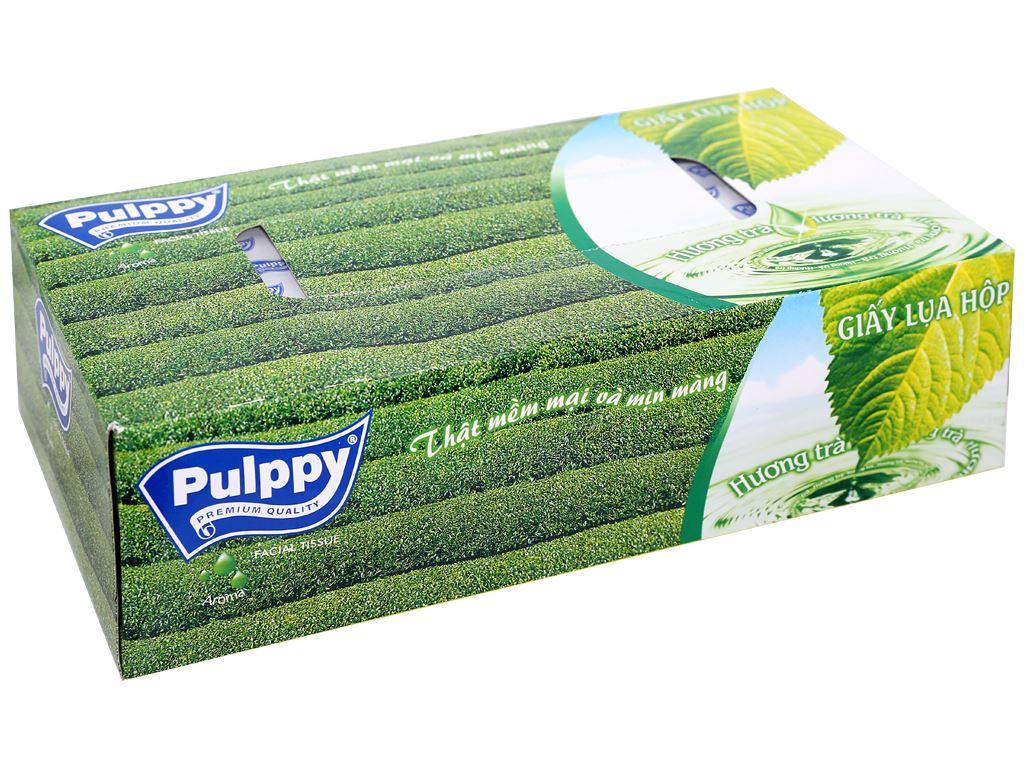 Khăn giấy lụa Pulppy hương trà xanh 2 lớp hộp 100 tờ 2