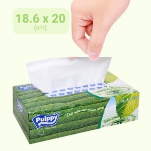 Khăn giấy lụa Pulppy hương trà xanh 2 lớp hộp 100 tờ