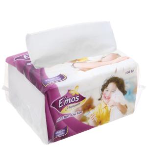 Khăn giấy ăn cao cấp E'mos Premium gói 100 tờ 1 lớp