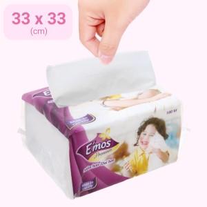 Khăn giấy ăn E'mos Premium 1 lớp gói 100 tờ
