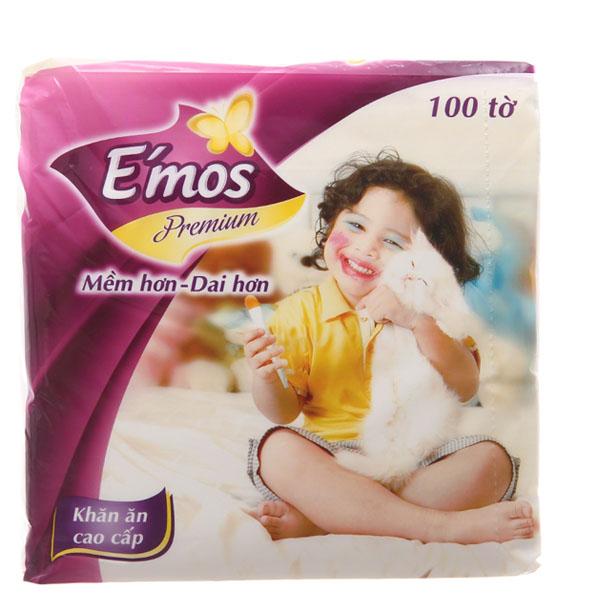 Khăn ăn E'mos premium 1 lớp gói 100 tờ