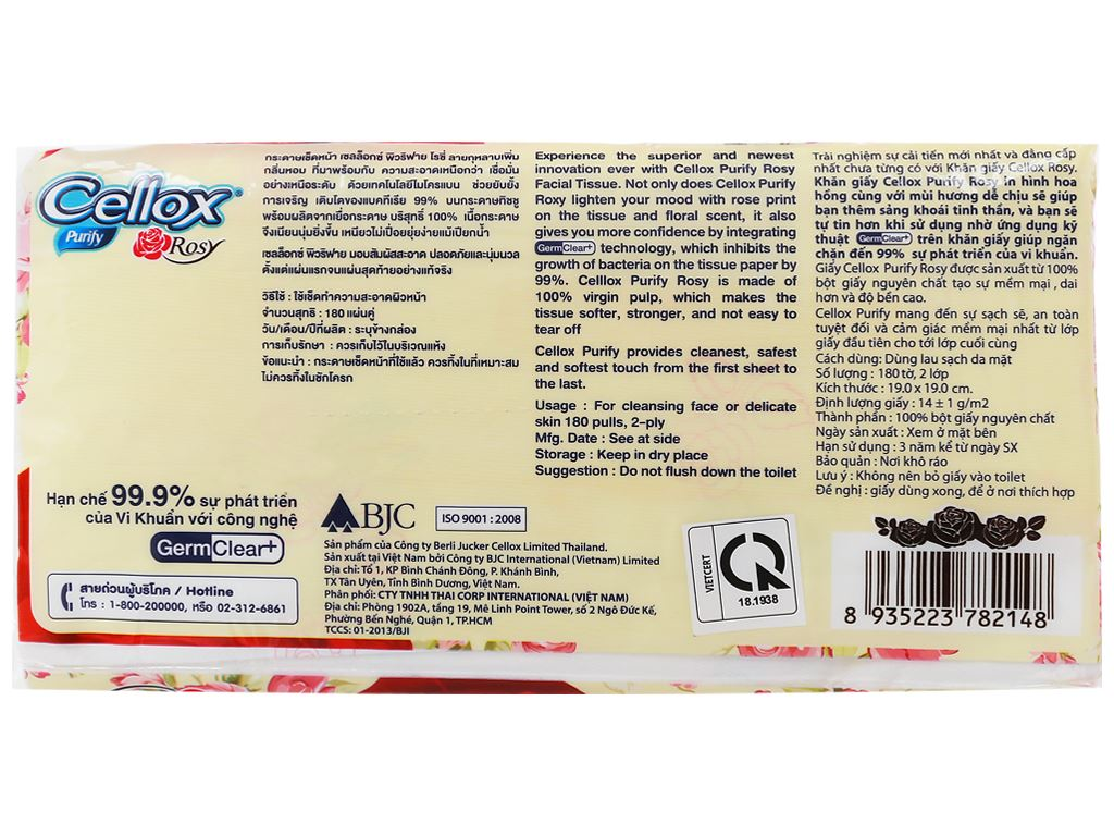 Khăn giấy ăn Cellox Purify Rosy gói 180 tờ 2 lớp 4