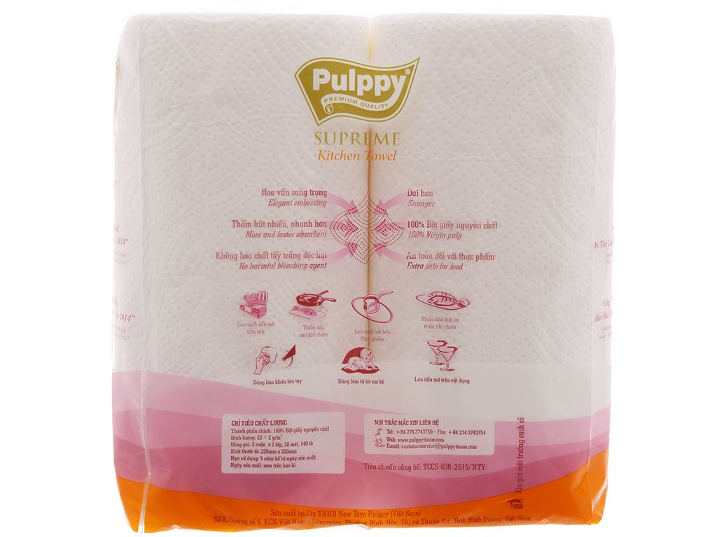 2 cuộn khăn giấy đa năng Pulppy Supreme 2 lớp 3