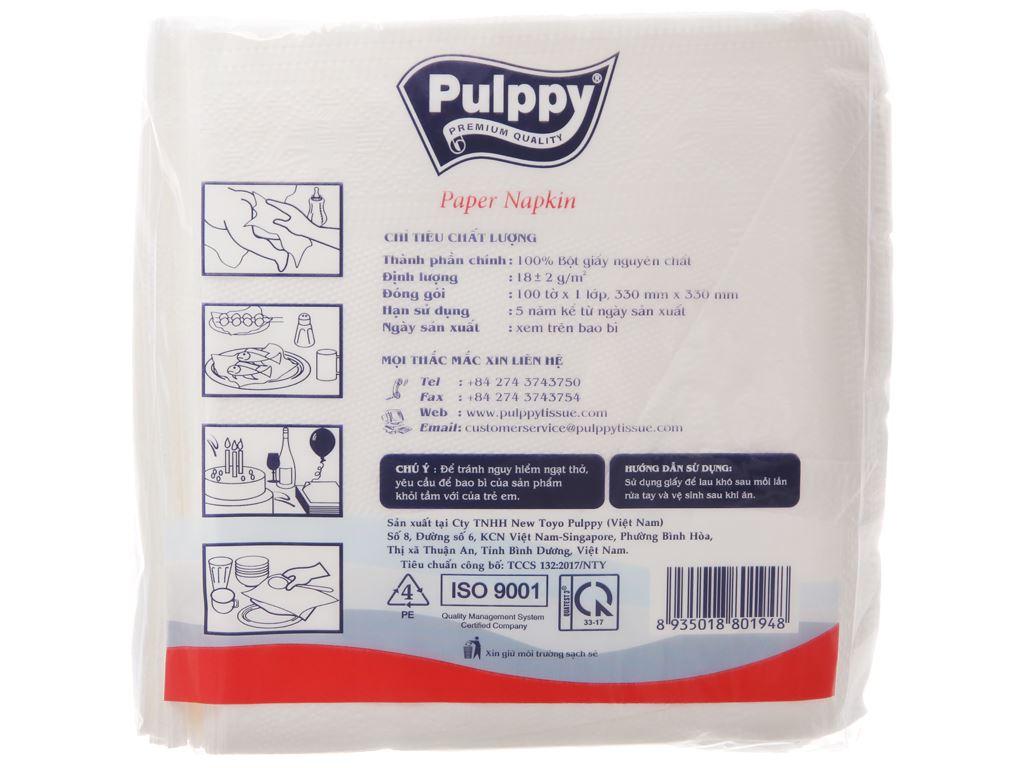Khăn giấy ăn Pulppy gói 100 tờ 1 lớp 3