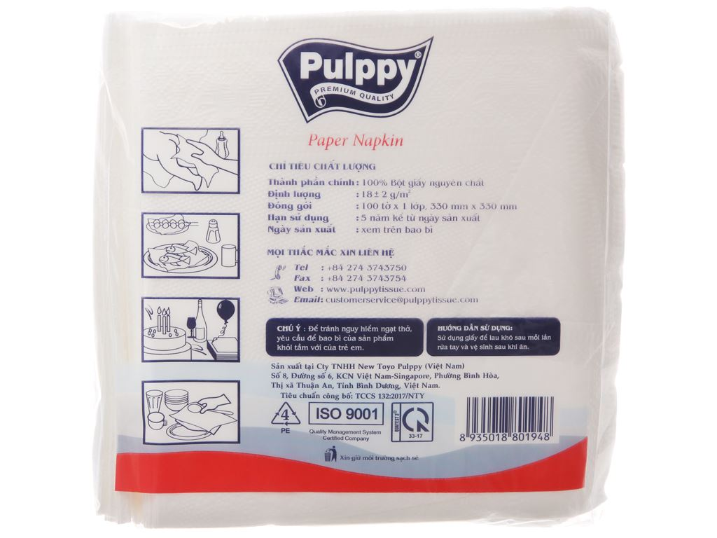 Khăn ăn Pulppy 1 lớp gói 100 tờ 3