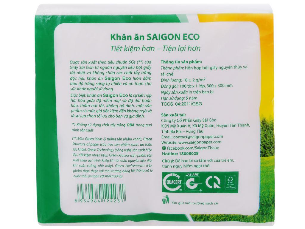 Khăn giấy ăn Saigon Eco gói 100 tờ 1 lớp 4
