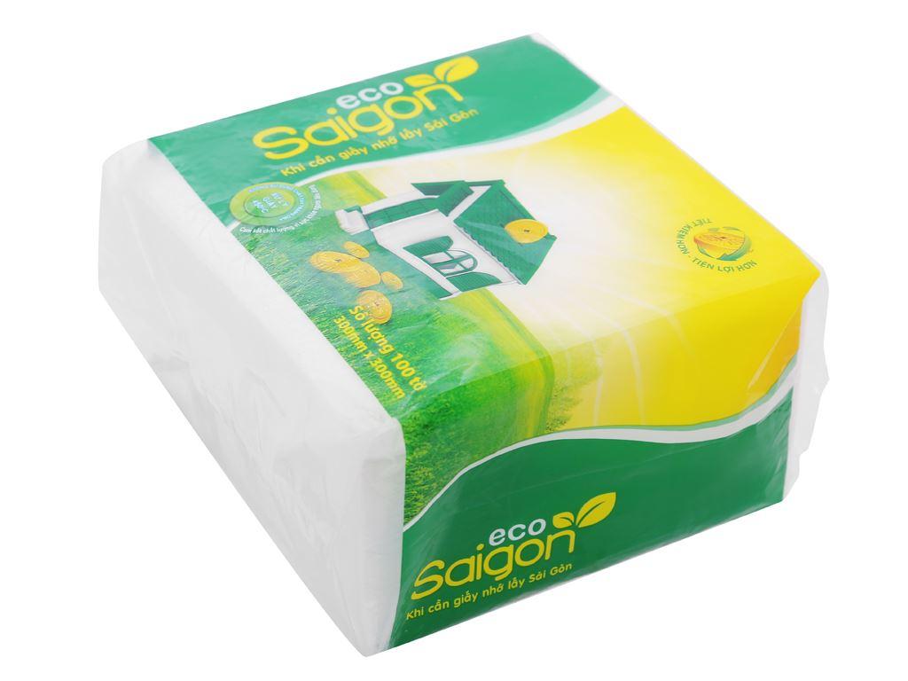 Khăn giấy ăn Saigon Eco gói 100 tờ 1 lớp 2