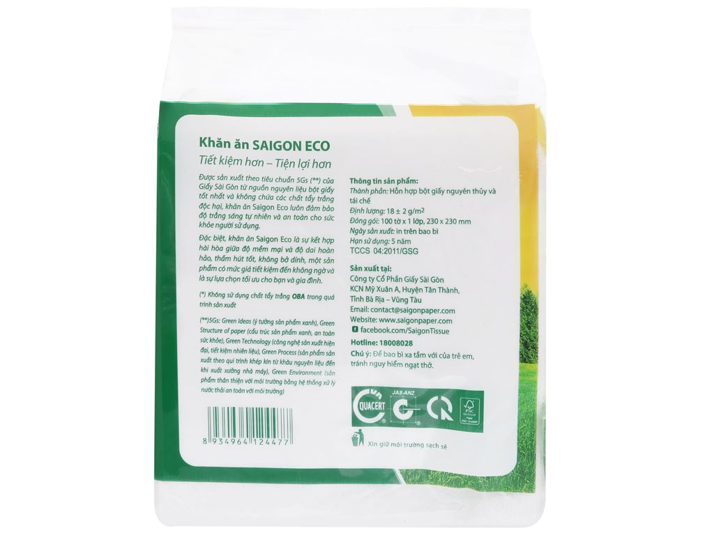 Khăn giấy Saigon 1 lớp gói 100 tờ 3