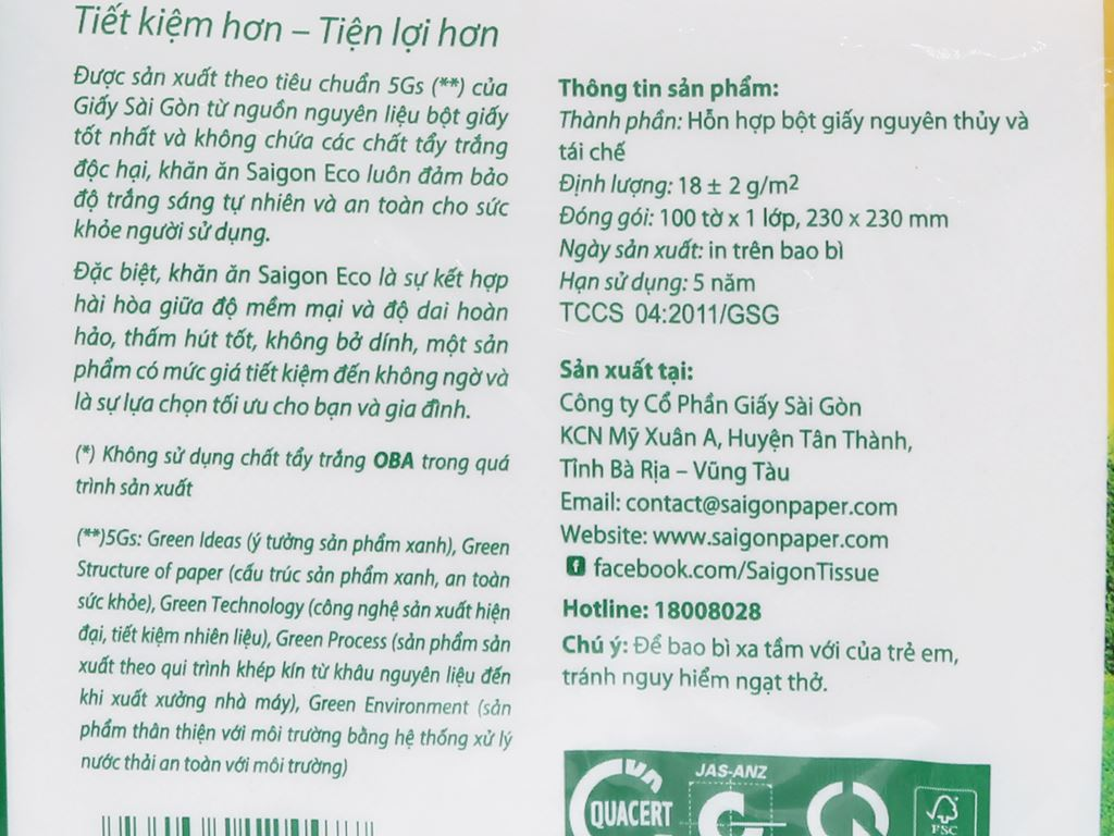 Khăn giấy Saigon 1 lớp gói 100 tờ 4