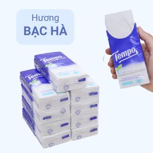 Khăn giấy ăn Tempo hương bạc hà 4 lớp 10 gói x 10 tờ