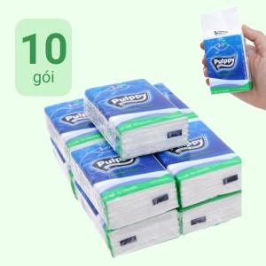 Khăn giấy bỏ túi Pulppy 3 lớp 10 gói x 10 tờ