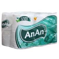Giấy vệ sinh An An có lõi gói 12 cuộn 2 lớp